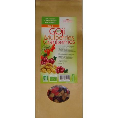 Mélange de 3 Super Fruits Goji Mulberries Cranberries biologiques* 250 g