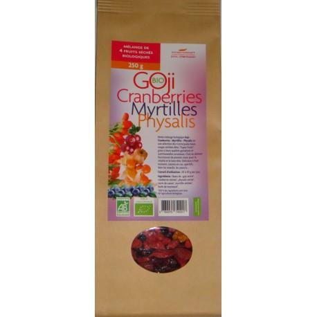 Mélange de 4 super fruits Goji, Cranberries, Physalis et Myrtilles biologiques* 250 g